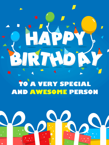 Presents & Balloons - Happy Birthday Card