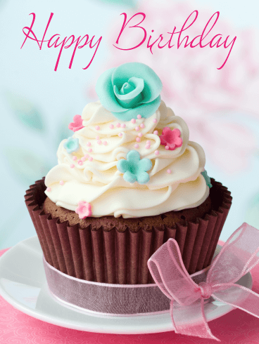 Pretty Cupcake - Happy Birthday Card