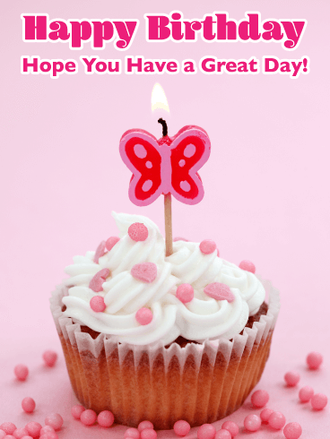 Butterfly Cupcake - Happy Birthday Card