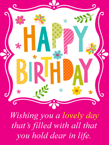 Butterflies & Flowers -  Happy Birthday Card