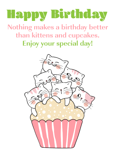 Kittens & Cupcakes - Happy Birthday Card
