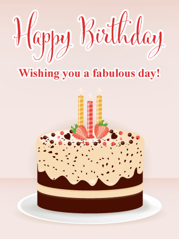 Fabulous Strawberry Cake - Happy Birthday Card