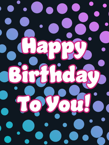 Purple & Blue Polka Dot - Happy Birthday Card