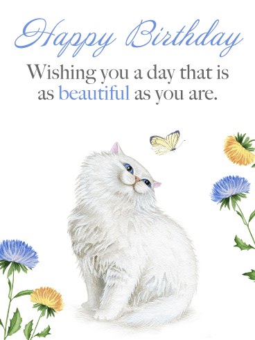 Precious Cat & Butterfly - Happy Birthday Card