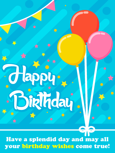 Balloons, Stars & Streamers - Happy Birthday Card