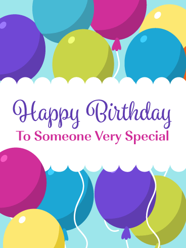 Colorful Party Balloons - Happy Birthday Card