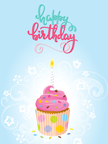 Cupcake & Swirls - Happy Birthday Card