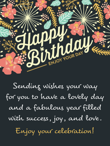 Flowers & Wishes – Happy Birthday Card