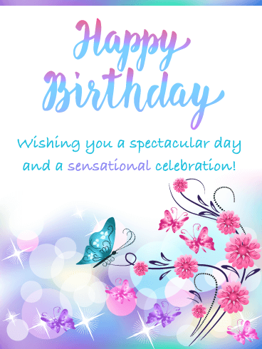 Butterflies & Sparkles - Happy Birthday Card