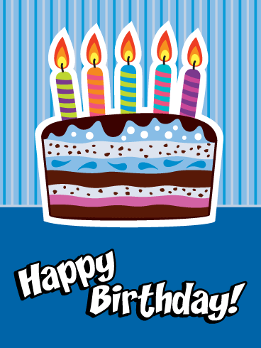 Brightly Lit Colorful Candles - Happy Birthday Card