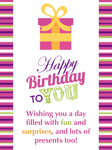 Fun & Surprises - Happy Birthday Card