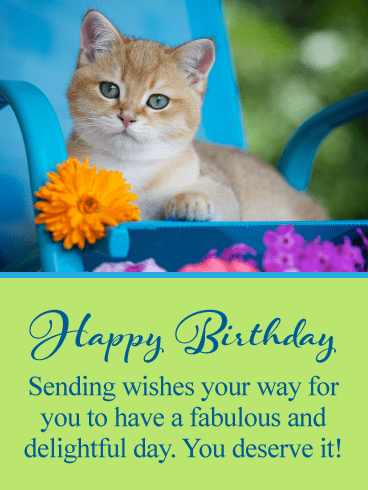 Sweet Kitten & Flower – Happy Birthday Card