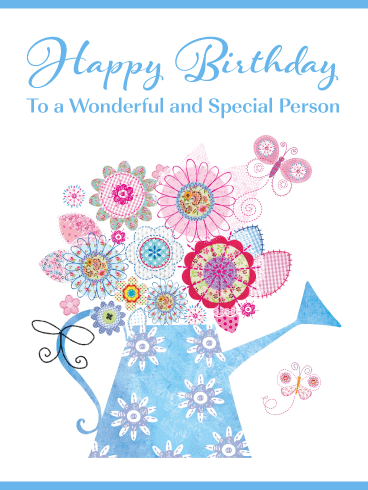 Flowers & Butterflies – Happy Birthday Card