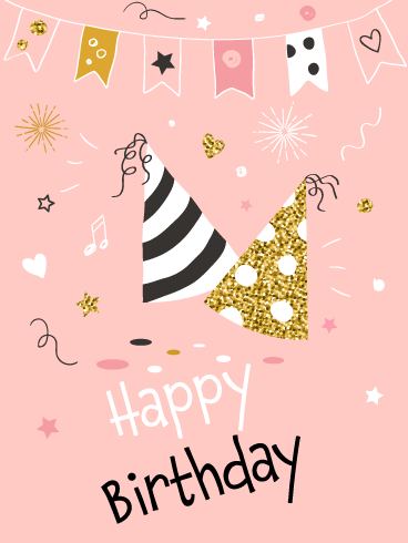Golden Party Hat – Happy Birthday Card