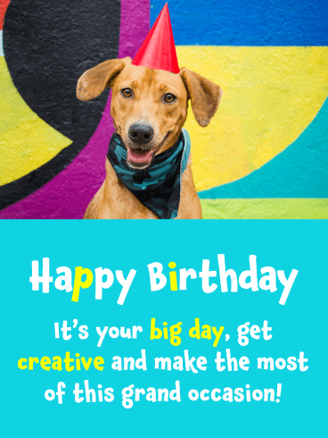 Dog with Party Hat – Happy Birthday Card