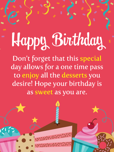 Special Desserts – Happy Birthday Card