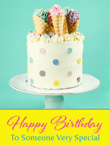 Outstanding Ice Cream Cone Cake Happy Birthday Card Birthday Greeting Funny Birthday Cards Online Sheoxdamsfinfo