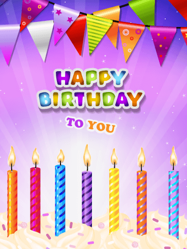 Brightly Lit Celebration Candles – Happy Birthday Card