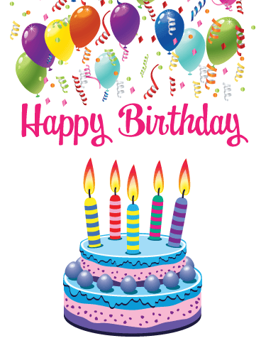 Balloons & Cake – Happy Birthday Card