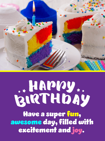 Awesome Colorful Cake – Happy Birthday Card