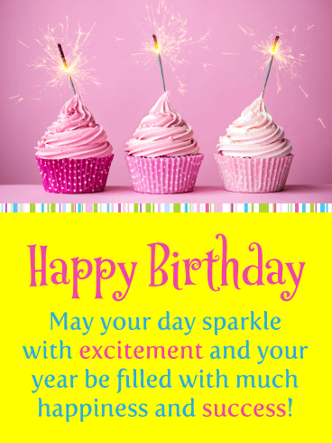 Pink Sparkling Cupcakes – Happy Birthday Card