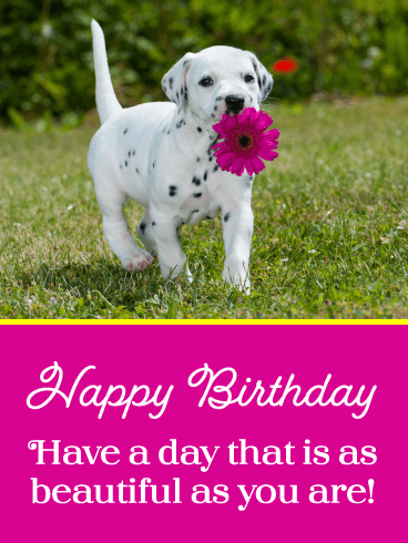 Puppy & Flower – Happy Birthday Card