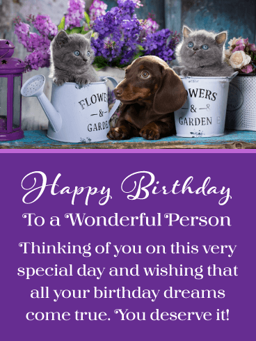 Kitties & Puppy – Happy Birthday Card