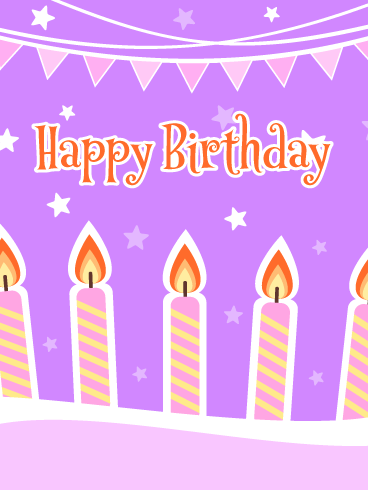 Brightly Lit Celebration Candles with Stars – Happy Birthday Card