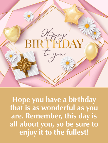 Golden Balloons – Happy Birthday Card