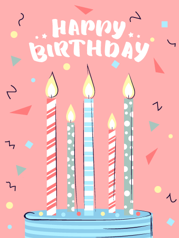 Festive Celebration Candles – Happy Birthday Card