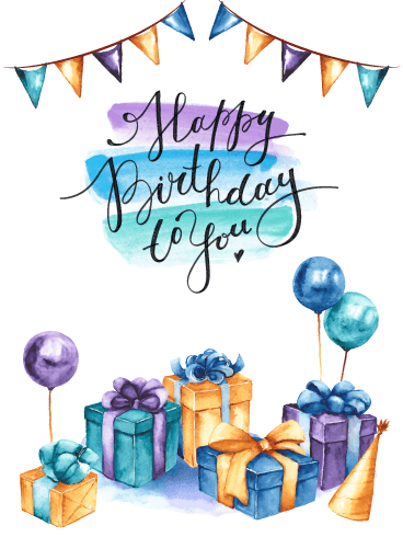 Balloons & Gifts - Happy Birthday Card