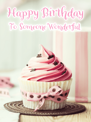 Pretty Pink Cupcake – Happy Birthday Card