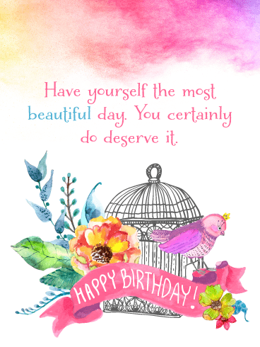 Lovely Bird & Flowers – Happy Birthday Card