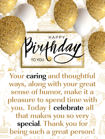 Gold & White Balloons – Happy Birthday Card