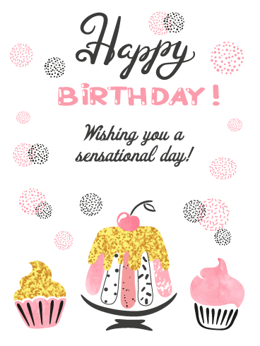 Pretty Pink & Gold Desserts - Happy Birthday Card