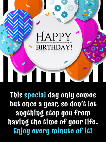 Balloons & Stripes – Happy Birthday Card