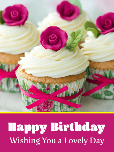 Rose Cupcakes – Happy Birthday Card