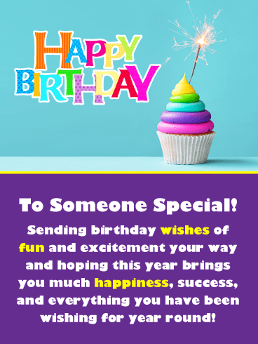 Colorful Sparkling Cupcake – Happy Birthday Card