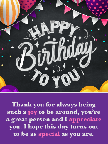 I Appreciate You – Happy Birthday Card