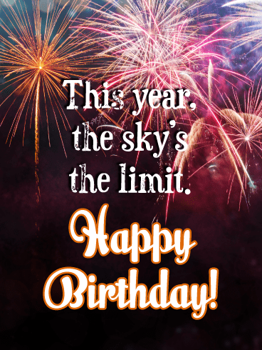 The Sky's the Limit - Happy Birthday Card