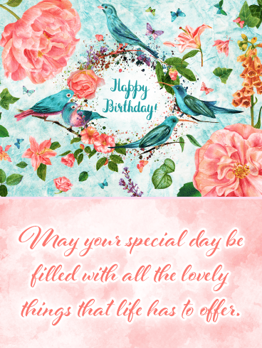 Beautiful Flowers & Birds – Happy Birthday Card