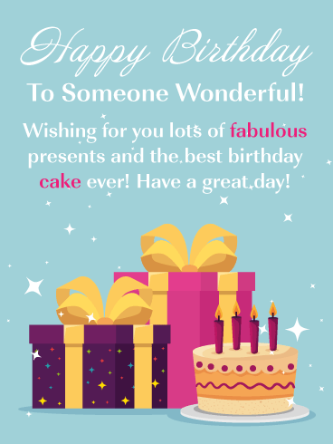 Fabulous Cake & Presents – Happy Birthday Card