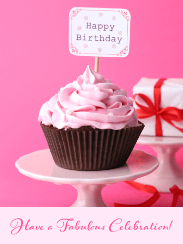 Pink Cupcake – Happy Birthday Card