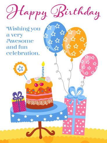 Awesome & Fun – Happy Birthday Card