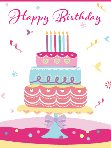 Fancy Decorative Cake – Happy Birthday Card