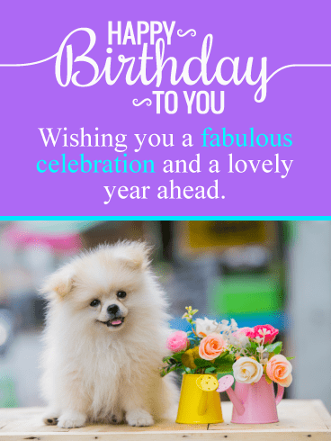 Puppy & Flowers – Happy Birthday Card