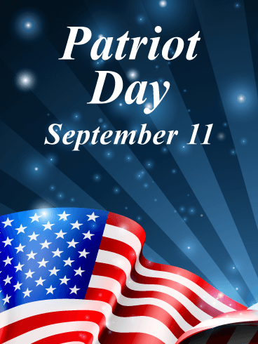 A Proudly Waving Flag - Patriot Day Card