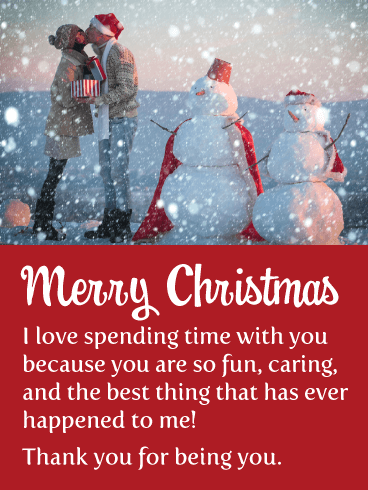 Snowman Couple - Romantic Merry Christmas Card