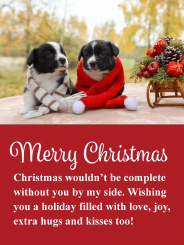 Cute Christmas Puppies.Cute Holiday Puppies Romantic Merry Christmas Card