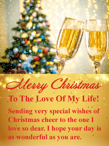 Sparkling Champagne - Romantic Merry Christmas Card